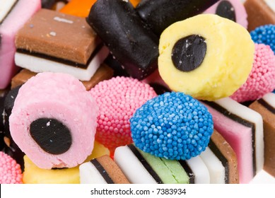 close-up of liquorice allsorts for backgrounds