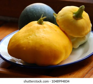 closeup with litlle pumpkins on a plate