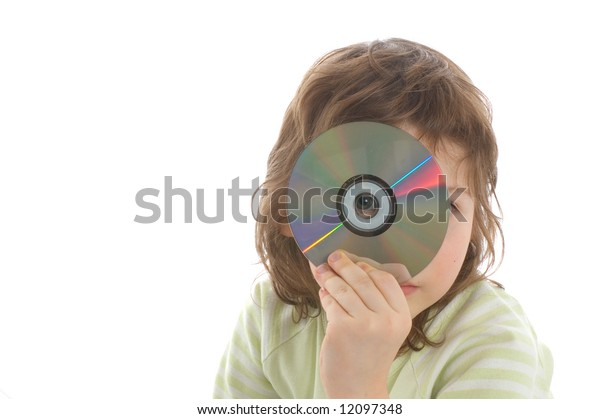 Close-up. Little girl have fun isolated on white background