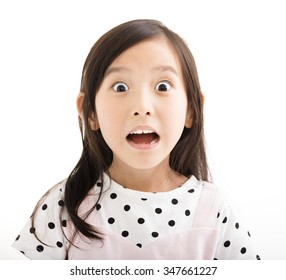closeup little girl with surprised face