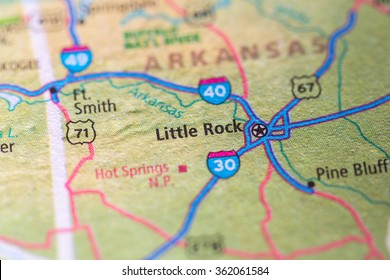 Closeup of Little Rock on a geographical map.