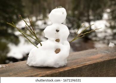 closeup of a little snowman on a wood truss - Shutterstock ID 1671196531