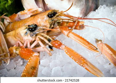 Close-up lobsters on ice
