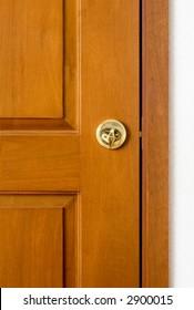 Closeup of a locked wooden door