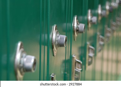 Close-up of lockers in an institution