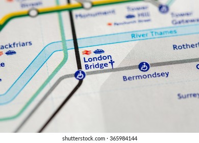 Closeup of London Bridge station on a map of the Jubilee metro line in London, UK.