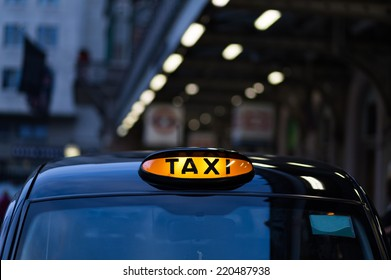 Closeup to a London Taxi Sign
