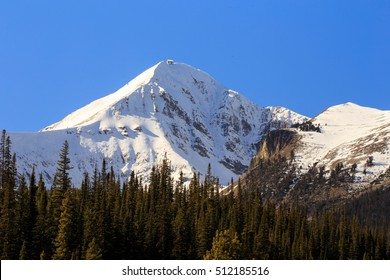 Closeup of Lone Mountain Peak with snow.
