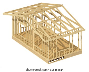 Close-up look at the construction and all wood framing process of this new home.Three-dimensional image.