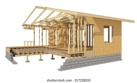 Close-up look at the construction and all wood framing process of this new home.Three-dimensional image. Cartoon conceptual image