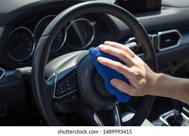 Close-up look of luxury car interiorin detail of a modern car. Dashboard of a modern car