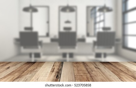 close-up look at wooden desk over blurred barber background