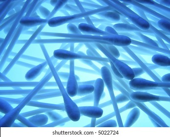 Close-up of lots of cotton swabs to be used as a background