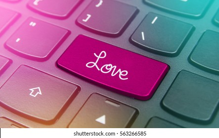 Close-up the Love button on the keyboard and have pink color button