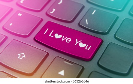 Close-up the I love you button on the keyboard and have pink color button