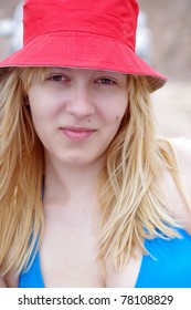closeup of lovely girl with red hat