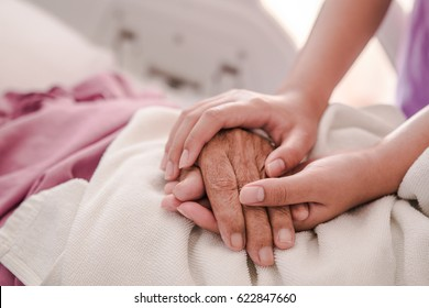 Closeup of loving couple holding hands while sick , Hand of young woman touching old woman in hospital
