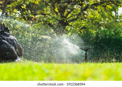 Closeup low angle view of automatic lawn sprinkler watering in the garden using as agricultural and fresh cover page concept