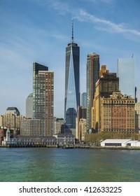 Close-Up of lower Manhattan cityscape, New York City, USA