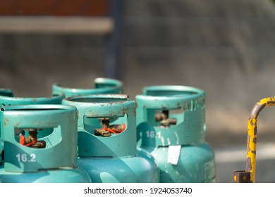 Closeup of LPG cylinder for cooking with soft focus.