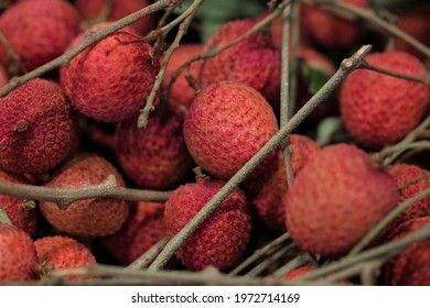 Closeup Lychee fruit (Litchi chinensis Sonn), Thai fruit Linchee  background. - Shutterstock ID 1972714169