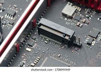 closeup M.2 connector interface for modern high speed and performance ssd storage on the modern PC