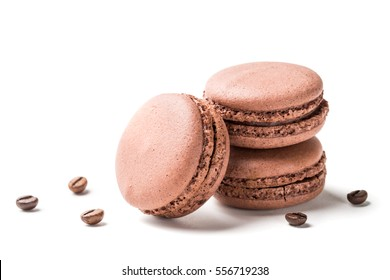 Closeup of macaroons flavored coffee on a white background