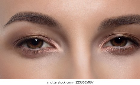 Close-up macro of beauty female brown eye with perfect shape eyebrows. Beautiful clean skin, fashion natural makeup. Good vision, lenses