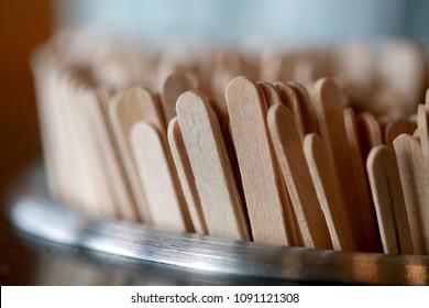 Closeup macro Coffee stir stick