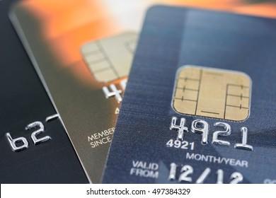 closeup and macro of credit card
