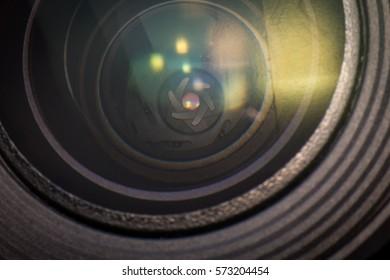 Closeup macro diaphragm of camera lens showing aperture blades