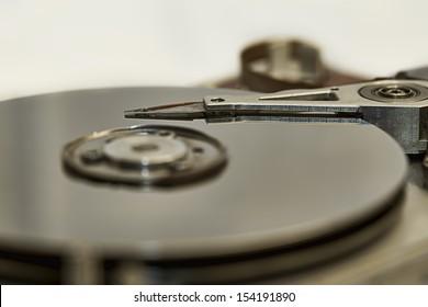 Closeup and macro hard drive inside