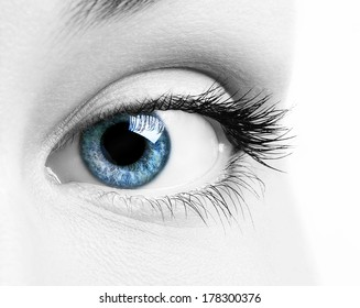 Close-up macro image of human eye with blue iris and desaturated skin