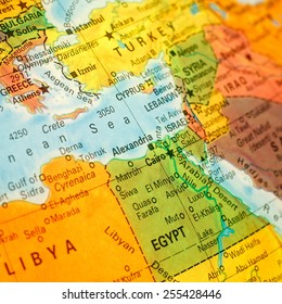 close-up macro image of map Egypt .Selective focus on Cairo