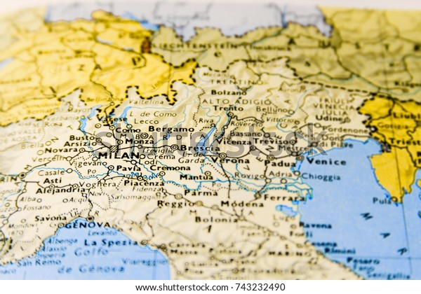 Milan Map Of Italy.Closeup Macro Map Italy Focus On Stock Photo Edit Now 743232490