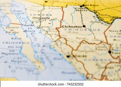 Close-up macro of map of Mexico with focus on Sonora region
