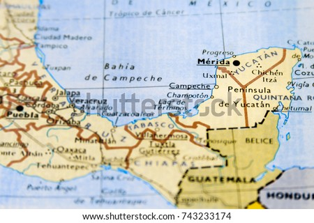 Closeup Macro Map Mexico Focus On Stock Photo Edit Now 743233174