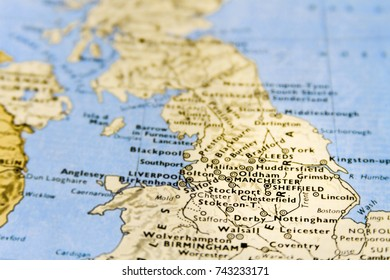Close-up macro of map of UK with focus on Manchester