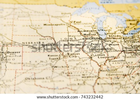Chicago On The Map Of Usa.Closeup Macro Map Usa Focus On Stock Photo Edit Now 743232442