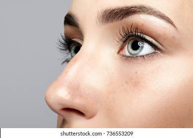 Closeup macro portrait of female face. Human woman open eyes with day beauty makeup. Girl with perfect skin and freckles.