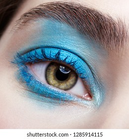 Closeup macro portrait of human female eye. Woman with unusual evening beauty face makeup . Girl with perfect skin, green pistachio colour eyes and blue smoky eyes make-up.