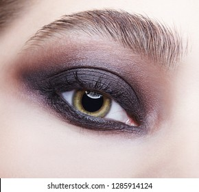 Closeup macro portrait of human female eye. Woman with unusual evening beauty face makeup . Girl with perfect skin, green pistachio colour eyes and violet - black smoky eyes make-up.