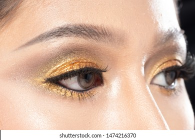 Closeup macro portrait of woman eye, Human female open brown eyes beauty eyeshadow mascara makeup. Young Model applying Fashion Make Up contact lens with Gold Leaf theme, studio lighting body part