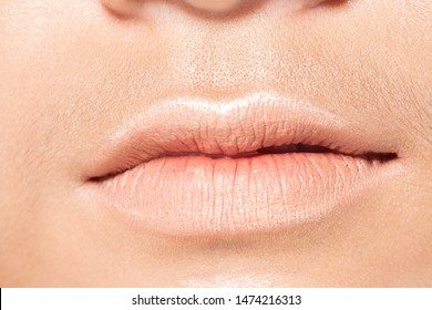 Closeup macro portrait of woman natural pink lip teeth, Young female open close mouth. Body Part of Fashion make up express emotion shape Lips with color Lipstick, studio lighting