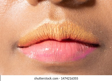 Closeup macro portrait of woman orange pink lip teeth, Young female open close mouth. Body Part of Fashion make up express emotion shape Lips with color Lipstick, studio lighting