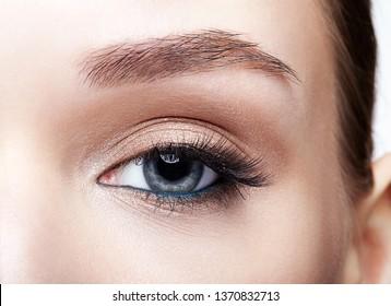 Closeup macro shot of blue human woman eye. Female with smoky eyes makeup
