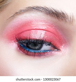 Closeup macro shot of closed human female eye. Woman with natural evening vogue beauty makeup. Girl with perfect skin and pink smoky eyes eye shadows