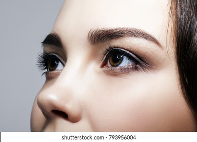 Closeup macro shot of  human  female face on gray background. Woman with natural nude face beauty makeup. Girl with perfect skin