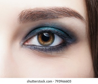 Closeup macro shot of  human female eye. Woman with natural evening vogue face beauty makeup. Girl with perfect skin and aquamarine eyes shadows