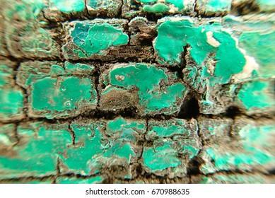 Closeup macro texture of green colour wooden. Selective focus dan closeup fragment.